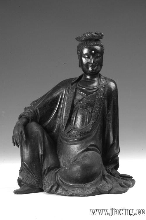 木雕描金观音坐像